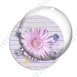Image digitale - Fleur rose fond rayures horizontales