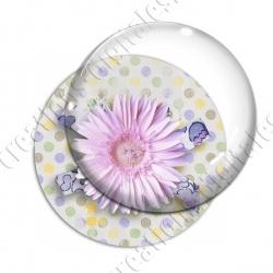 Image digitale - Fleur rose fond spirales