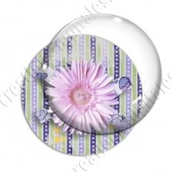 Image digitale - Fleur rose fond rayures verticales