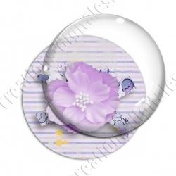 Image digitale - Fleur tissu rose fond rayures horizontales