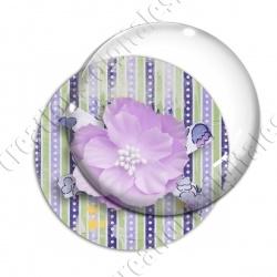 Image digitale - Fleur tissu rose fond rayures verticales