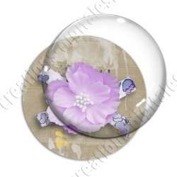 Image digitale - Fleur tissu rose fond marron