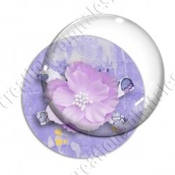 Image digitale - Fleur tissu rose fond violet