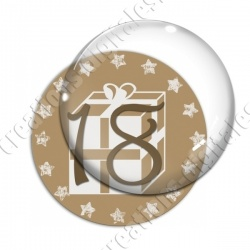 Image digitale - Avent 18 or et blanc