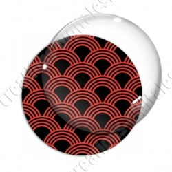 Image digitale - Vagues japonaises - Rouge Fond noir