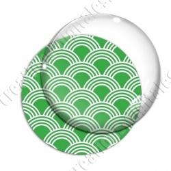 Image digitale - Vagues japonaises - Blanc Fond vert