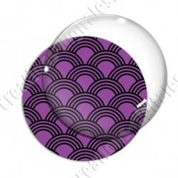 Image digitale - Vagues japonaises - Noir fond violet
