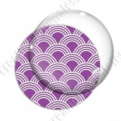 Image digitale - Vagues japonaises - Blanc fond violet