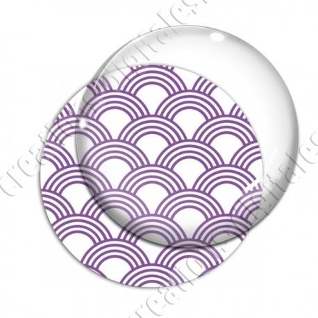 Image digitale - Vagues japonaises - Violet fond blanc