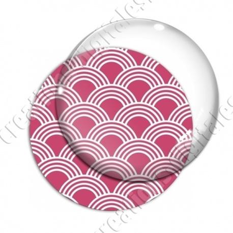 Image digitale - Vagues japonaises - Blanc fond rose
