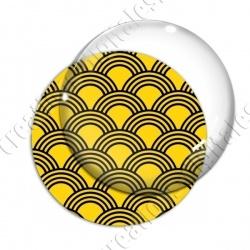Image digitale - Vagues japonaises - Noir fond jaune