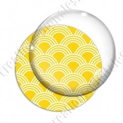 Image digitale - Vagues japonaises - Blanc fond jaune