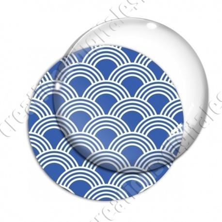 Image digitale - Vagues japonaises - Blanc fond bleu