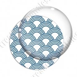 Image digitale - Vagues japonaises - Bleu fond blanc