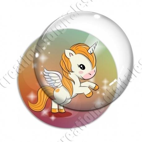 Image digitale - Licorne ailée - orange