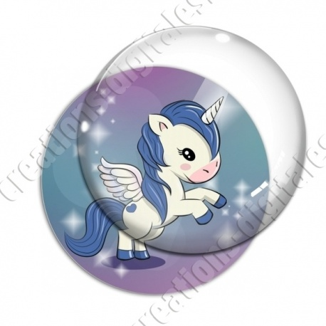 Image digitale - Licorne ailée - bleu