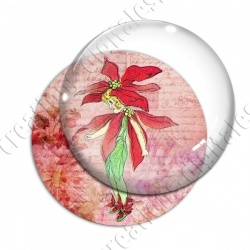 Image digitale - Fillette robe fleur rouge