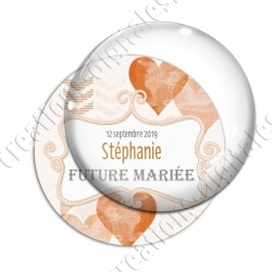 Image digitale - Personnalisable - Future mariée  Coeur orange