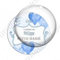 Image digitale - Personnalisable - Futur marié Coeur bleu