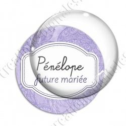 Image digitale - Personnalisable - Future mariée fond fleuri violet