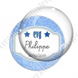 Image digitale - Personnalisable - Evg fond fleuri bleu