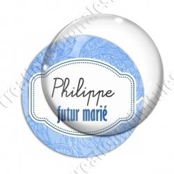 Image digitale - Personnalisable - Futur marié fond fleuri bleu
