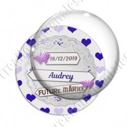 Image digitale - Personnalisable - Future mariée dentelle et coeurs violets