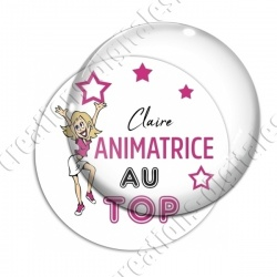 Image digitale - Animatrice au top - fond blanc texte rose