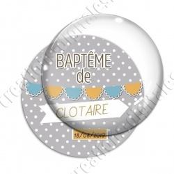 Image digitale - Baptème de - Fond pois gris garçon