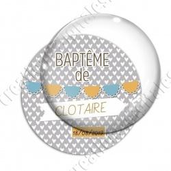 Image digitale - Baptème de - Fond coeur gris garçon