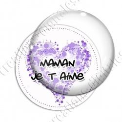 Image digitale - Fond coeur violet - Maman je t'aime