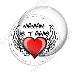 Image digitale - Fond coeur ailé - Maman je t'aime