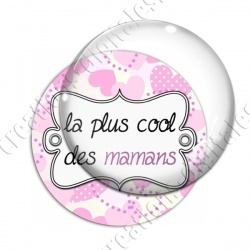 Image digitale - Fond coeur pois - maman cool