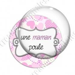Image digitale - Fond coeur pois - maman poule