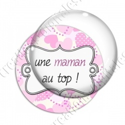 Image digitale - Fond coeur pois - maman top