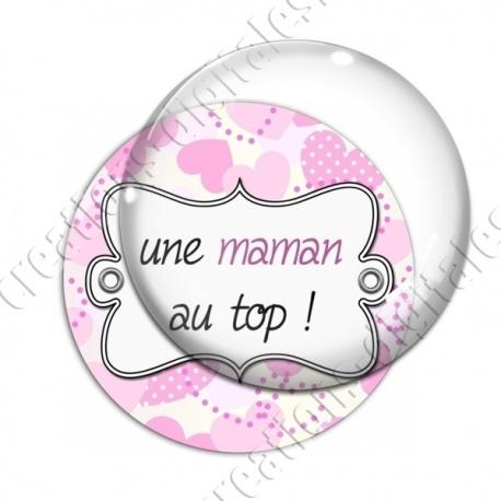 Image digitale - Fond coeur pois - maman top