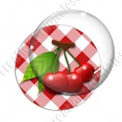 Image digitale - 3 cerises fond vichy rouge
