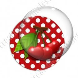 Image digitale - 3 cerises fond pois rouge