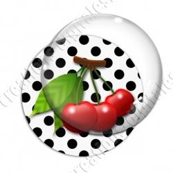Image digitale - 3 cerises fond pois blanc