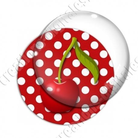Image digitale - 1 cerise fond pois rouge