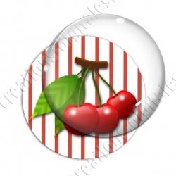 Image digitale - 3 cerises fond rayé rouge