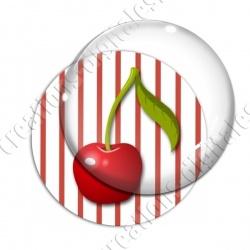 Image digitale - 1 cerise fond rayé rouge
