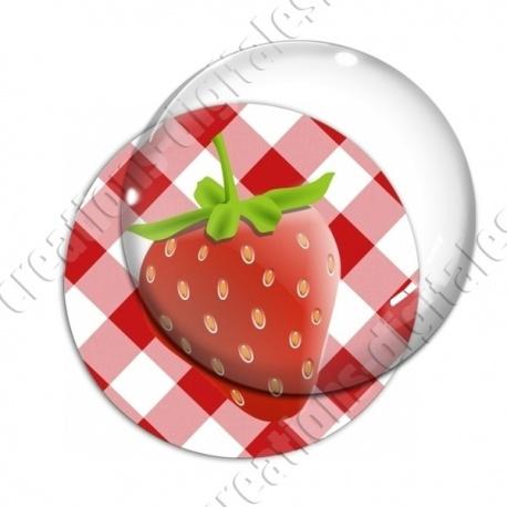 Image digitale - Fraise - fond vichy rouge