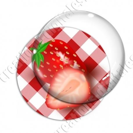 Image digitale - Fraises - fond vichy rouge