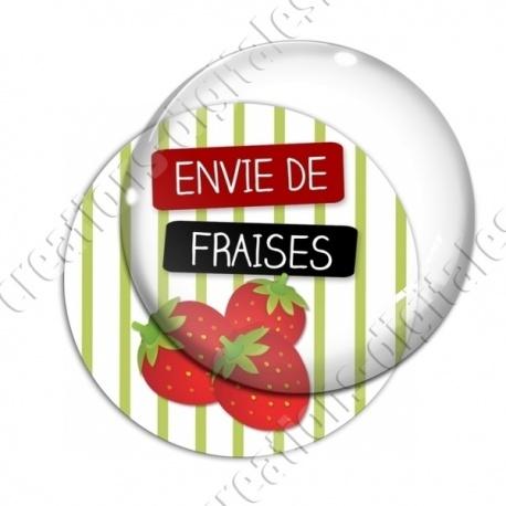 Image digitale - Envie de Fraises - fond rayé vert