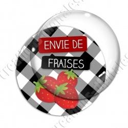Image digitale - Envie de Fraises - fond vichy noir