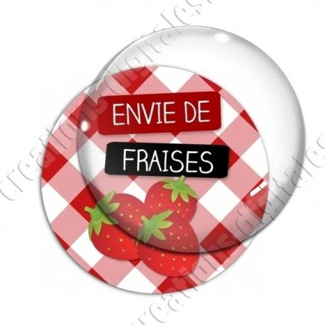 Image digitale - Envie de Fraises - fond vichy rouge