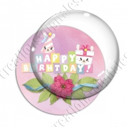 Image digitale - Happy birthday - Déco fleurie