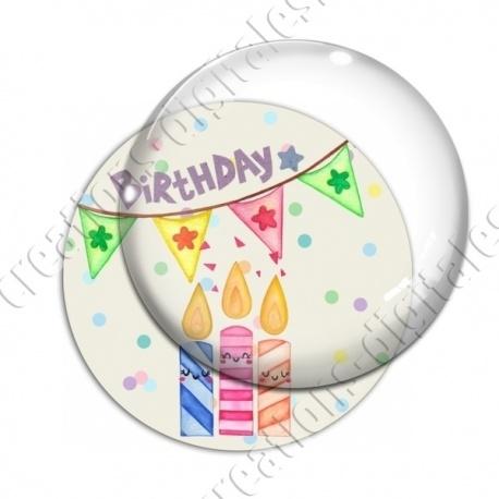 Image digitale - Happy birthday - bougie aquarelle