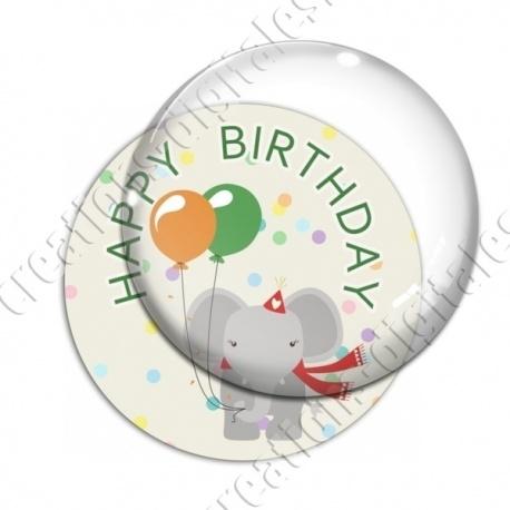 Image digitale - Happy birthday - Elephant et ballons